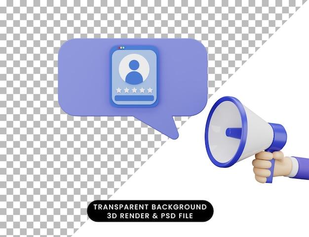 3d-wiedergabe der hand mit megaphon