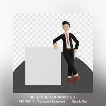 3d-wiedergabe des stehenden mannes, der sich auf eine leere präsentation stützt