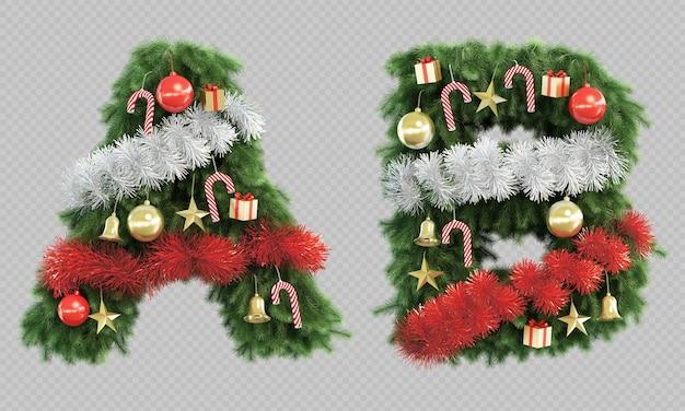 3d-wiedergabe des weihnachtsbaumbuchstabens a und des buchstabens b.