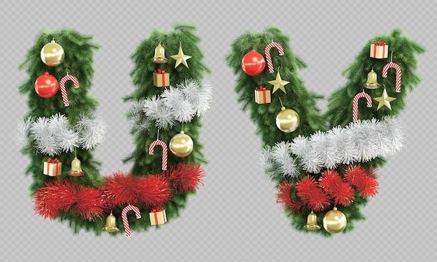 3d-wiedergabe des weihnachtsbaumbuchstabens u und des buchstabens v.