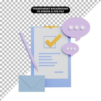 3d-wiedergabe von papierobjektstiftbuchstaben-chatblasen-symbol