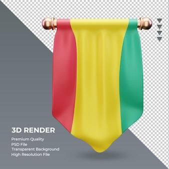 3d wimpel guinea-bissau-flagge rendering vorderansicht