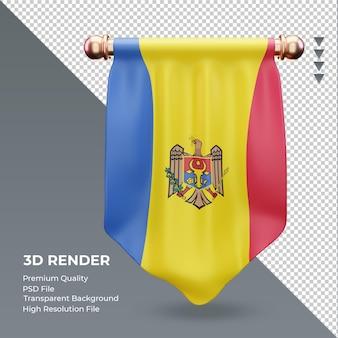 3d wimpel moldawien flagge rendering vorderansicht