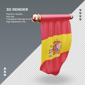 3d wimpel spanien flagge rendering linke ansicht