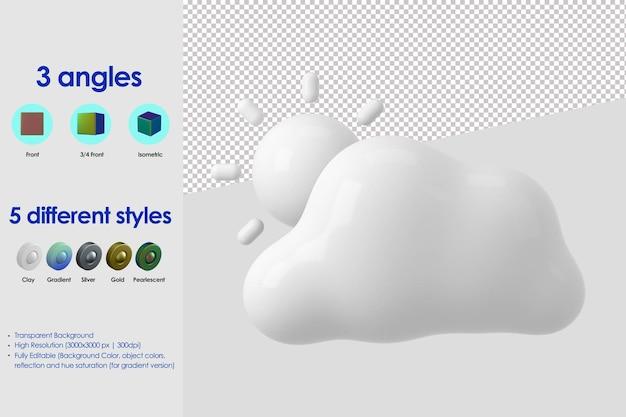 3d-wolken- und sonnensymbol