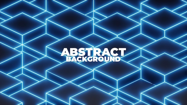 3d-würfel und neonlicht, abstrakter hintergrund