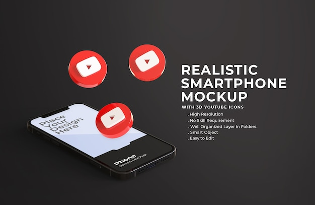 3d-youtube-symbole mit mobilem bildschirmmodell