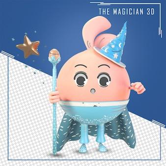 3d zauberer süßer charakter mit zauberstab und sternen
