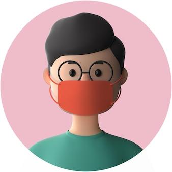 3d zeichentrickfigur, die modell der gesichtsmaske trägt