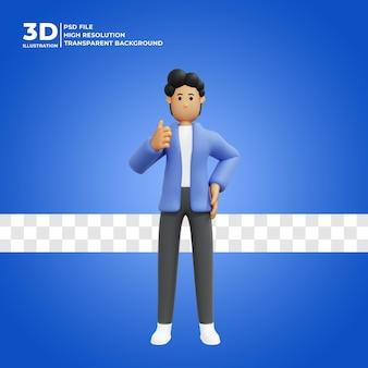 3d zeichentrickfigur posieren glücklich premium-psd