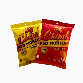 3d zwei fliegende nahrungsmittelsnackfolie doff sachet, das knusprige chips verpackt