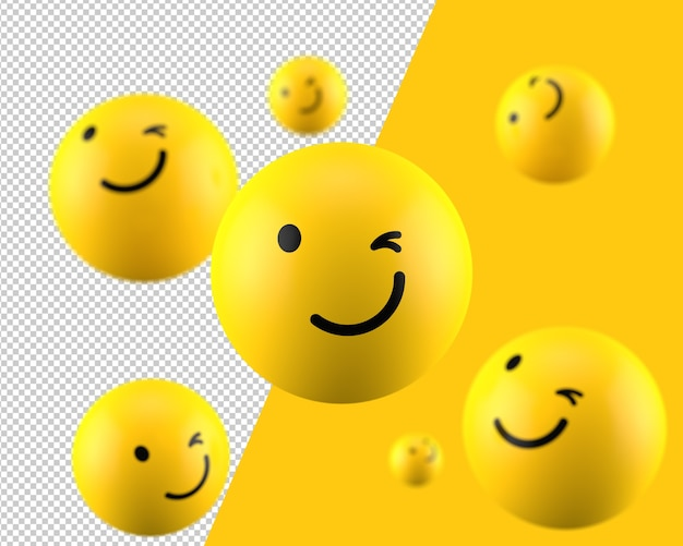 3d zwinkerndes emoticon-symbol
