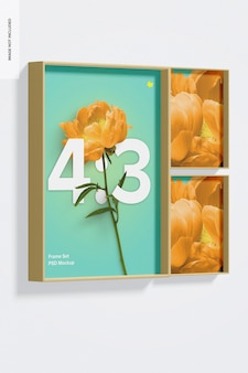 4: 3 frame set mockup, ansicht von links