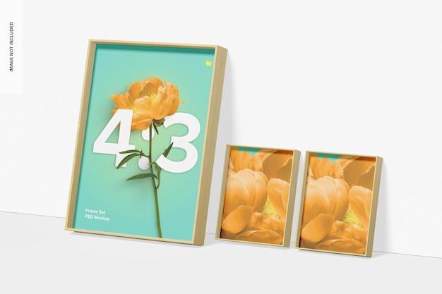 4: 3 frame set mockup, geneigt