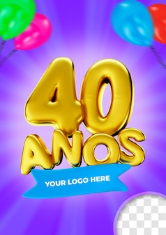 40-jähriges jubiläum 3d-logo rendern