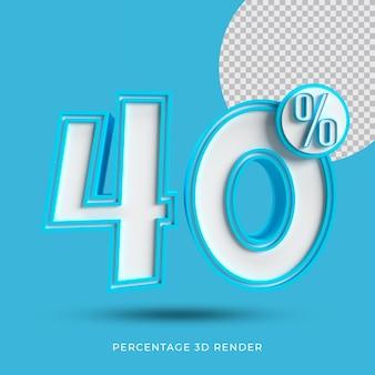 40 prozent 3d render blaue farbe