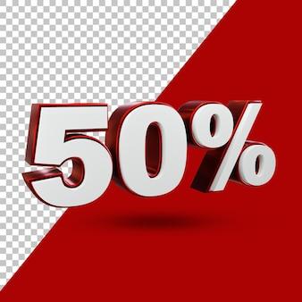 50% angebot label 3d rendering isoliert
