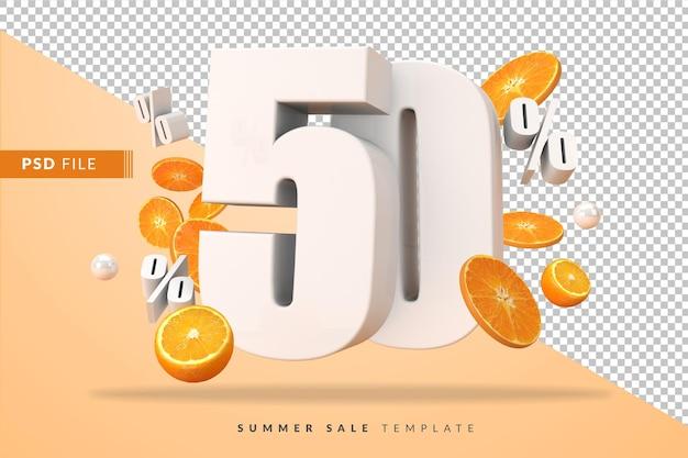 50 prozent sommerverkaufskonzept mit geschnittenen orangen in 3d-rendering