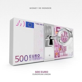 500 euro geldpackung mit schloss 3d rendern