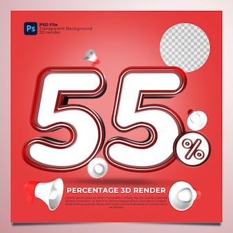 55 prozent 3d rendern von roten farben mit elementen