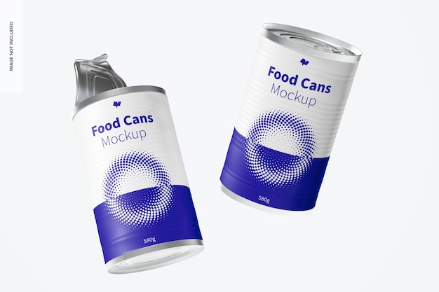 580g food cans mockup, schwimmend