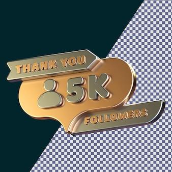 5k follower 3d gerendertes isoliertes konzept mit realistischer goldener metallic-textur Premium PSD