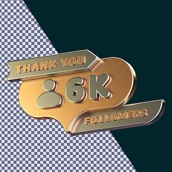 6k follower 3d gerendertes isoliertes konzept mit realistischer goldener metallischer textur