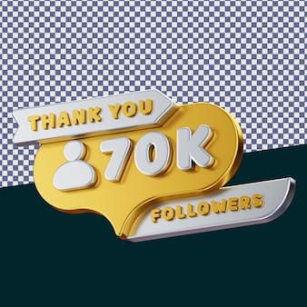 70k follower 3d gerendertes isoliertes konzept mit realistischer goldener metallischer textur