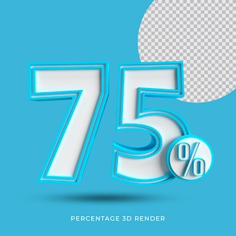 75 prozent 3d render blaue farbe
