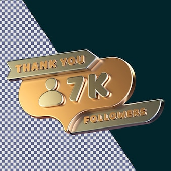 7k follower 3d gerendertes isoliertes konzept mit realistischer goldener metallic-textur Premium PSD