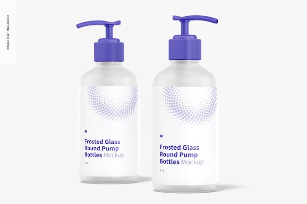 8 unzen mattglas runde pumpflaschen modell, vorderansicht