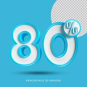 80 prozent 3d render blaue farbe