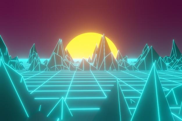 80 retro-futuristischer hintergrund