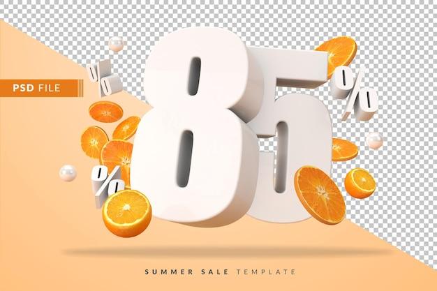 85 prozent sommerverkaufskonzept mit geschnittenen orangen in 3d-rendering