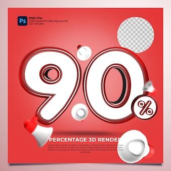 90 prozent 3d rendern sie rote farben mit elementen