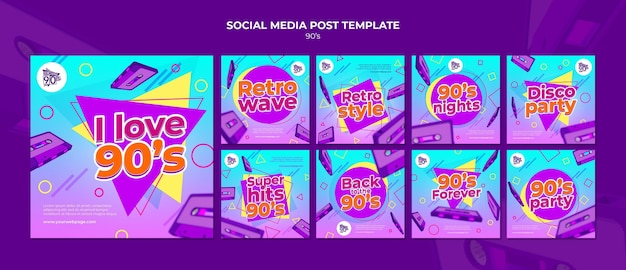 90er jahre retro insta social media post design-vorlage
