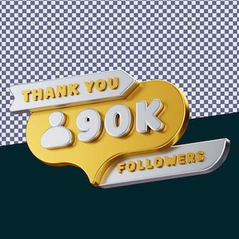 90k follower 3d gerendertes isoliertes konzept mit realistischer goldener metallischer textur