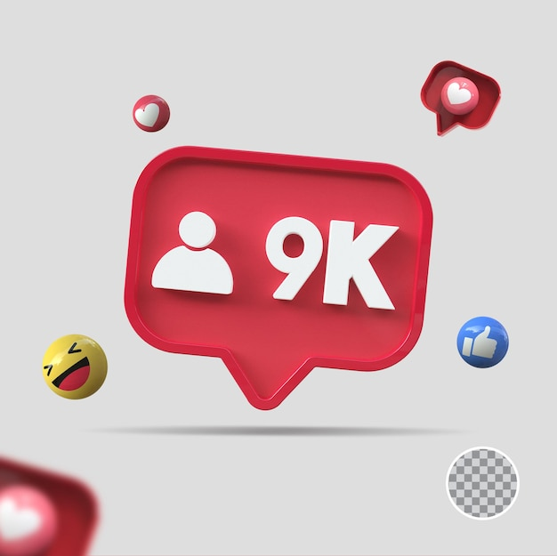 9k follower mit symbol 3d-rendering