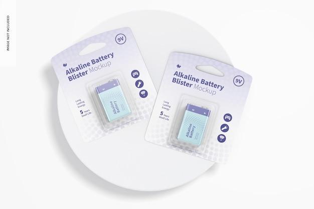 9v alkaline batterie blister mockup