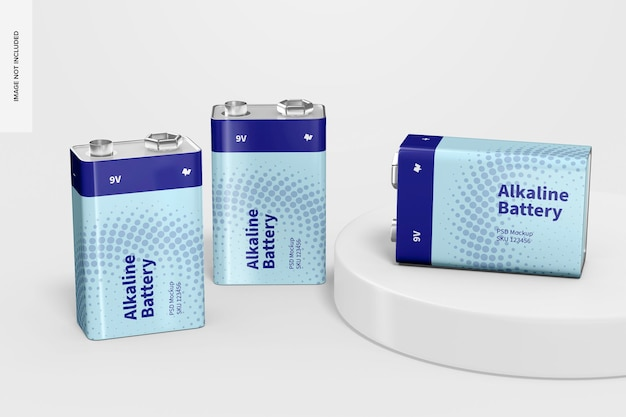 9v alkaline batterien mockup m