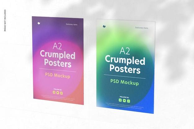 A2 zerknitterte poster mockup
