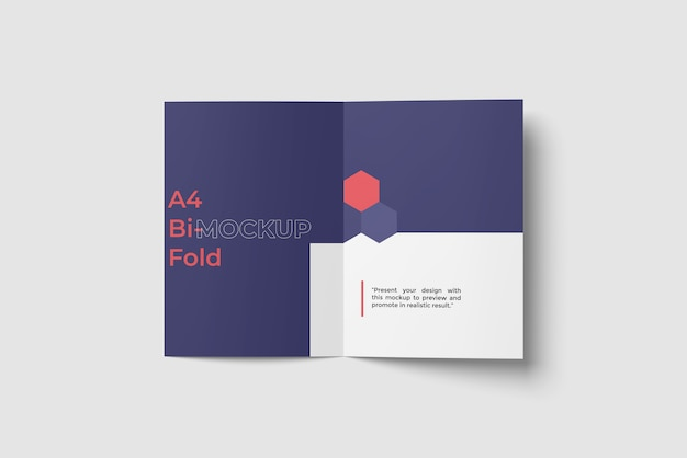 A4 bi fold broschüre / flyer mockup top angle view