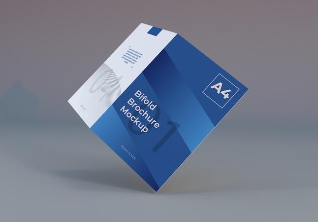 A4 bifold brochure paper mockup illustration mit grau