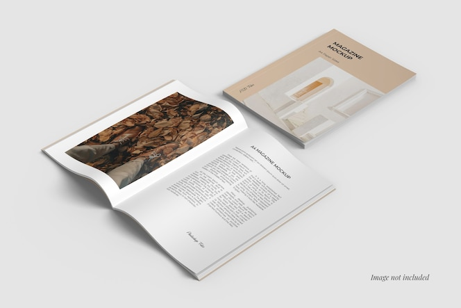 A4 cover and spread magazine mockups