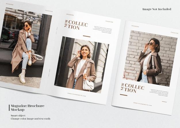 A4-doppelcover und geöffnetes minimalistisches magazin- oder broschürenmodell