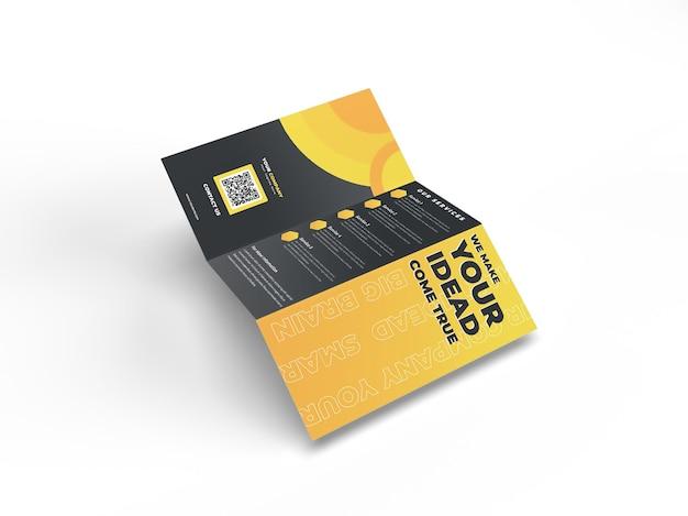 A4 dreifach gefaltetes realistisches broschüren-flyer-mockup für die werbung des unternehmensprofils und der markenidentität