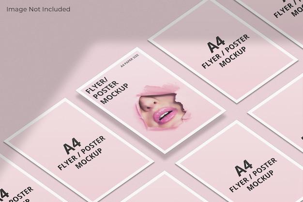 A4-flyer-broschürenmodell mit schattenüberlagerung