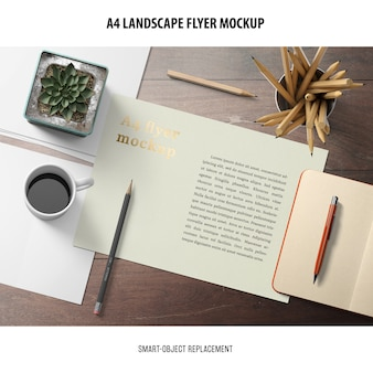 A4 landschaft flyer mockup