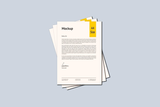 A4 paper mockup design rendering isoliert