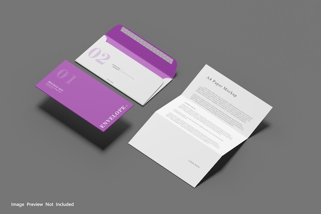 A4-papier und umschlagmodell 3d-rendering
